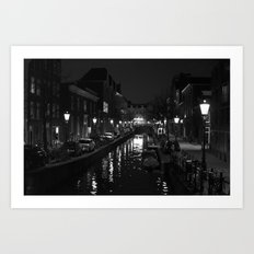 Amsterdam by Night - Canal Art Print