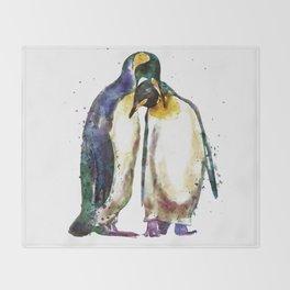 Penguin couple Throw Blanket