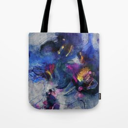 Contemporary Abstract Art in Blue and Yellow Tote Bag