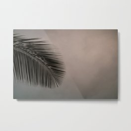Minimalistic palm leaf silhouette against cloudy and colorful sky Metal Print