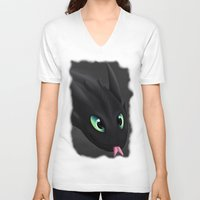 toothless V-neck T-shirts featuring Toothless by Alkraas