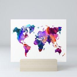 Colorful Watercolor World Map Mini Art Print