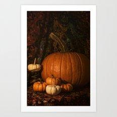Glow on the Pumpkins Autumn Still Life Art Print