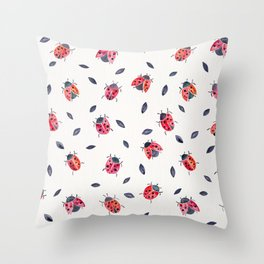 Lucky Ladybugs & Black Leaves Throw Pillow