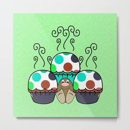 Cute Monster With Cyan And Blue Polkadot Cupcakes Metal Print