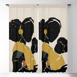 Black Hair No. 15 Blackout Curtain