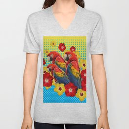 YELLOW-BLUE  FLORAL MACAWS & RED YELLOW HIBISCUS Unisex V-Neck