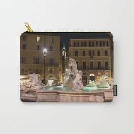 Fountain of Neptune in the Piazza Navona at night - Rome, Italy Carry-All Pouch