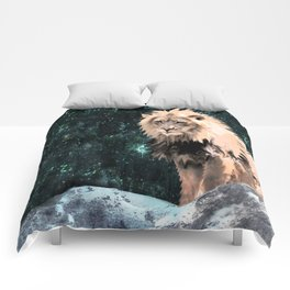 Lion King of the Emerald Panthera Galaxy Comforters