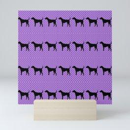 Black Lab in Purple Pattern Mini Art Print