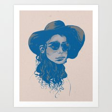 Woman in Hat and Sunglasses Art Print