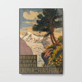 Chemin de fer Furka Vintage Travel Poster Metal Print