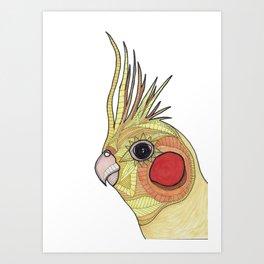 Yellow Ombre Cockatiel Illustration Art Print