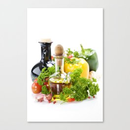 vegetables still life with olive oil and vinegar on white background Canvas Print