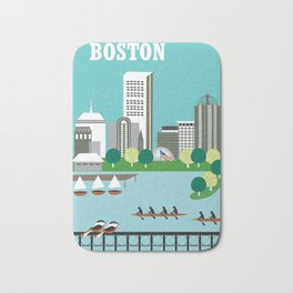 Boston, Massachusetts - Skyline Illustration by Loose Petals Bath Mat