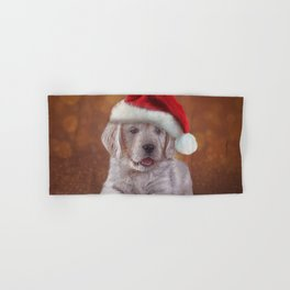Drawing puppy breed Golden Retriever in red hat of Santa Claus Hand & Bath Towel