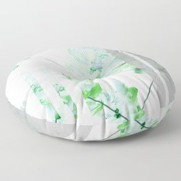 Abstract Geometric Lines Green Peonies Flowers Design Floor Pillow