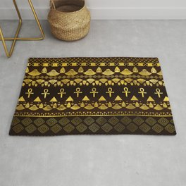Egyptian Ethnic Pattern gold on rich browns Rug