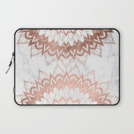 Modern chic rose gold floral mandala illustration on trendy white marble Laptop Sleeve
