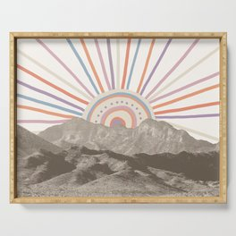 Bohemian Tribal Sun / Abstract Vintage Mountain Happy Summer Vibes Retro Colorful Pastel Sky Artwork Serving Tray