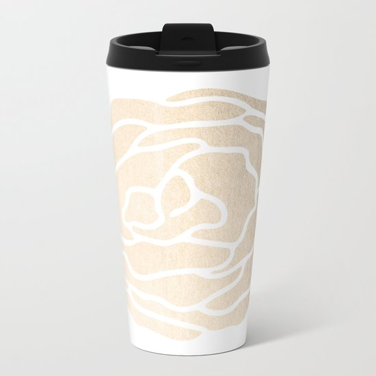 Rose White Gold Sands on White Metal Travel Mug