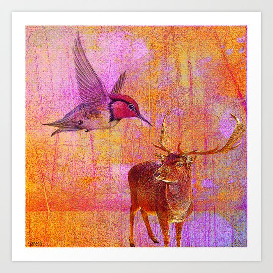 The loves platonic of the hummingbird and the deer Art Print