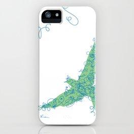 Bird Fly No. 2 (Blue/Green) iPhone Case