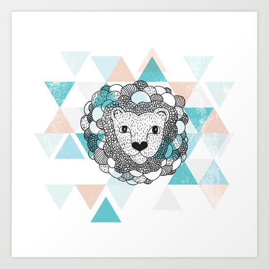 Geometric Lion  Art Print