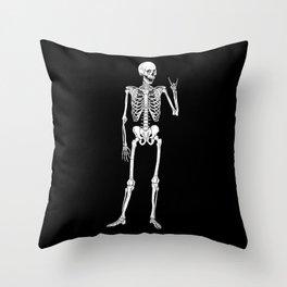 Rock Star Skeleton Throw Pillow