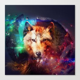 Colorful face wolf  Canvas Print