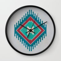 kilim Wall Clocks featuring Pistachio Persian Kilim by Katayoon Photography