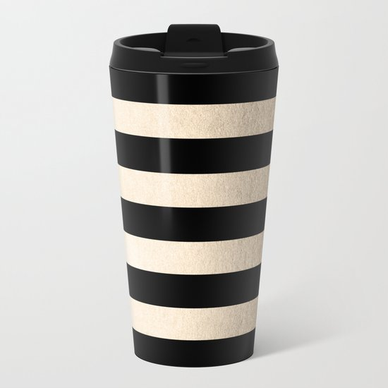 Simply Striped White Gold Sands on Midnight Black Metal Travel Mug