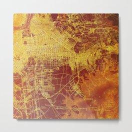 Brooklin Red Orange Old Map Metal Print