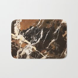 Sienna Brown and Black Marble With Creamy Veins Bath Mat