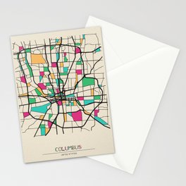 Colorful City Maps: Columbus, Ohio Stationery Cards