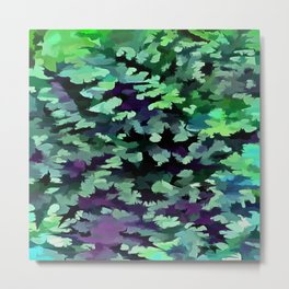 Foliage Abstract Pop Art In Jade Green and Purple Metal Print