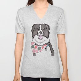 Border Collie with Bandana Unisex V-Neck