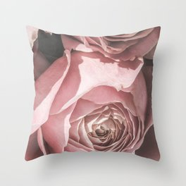 Powdery Pink Roses Throw Pillow