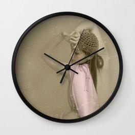 """Mattaharish"" - The Playful Pinup - Vintage Weathered Pinup Girl by Maxwell H. Johnson Wall Clock"