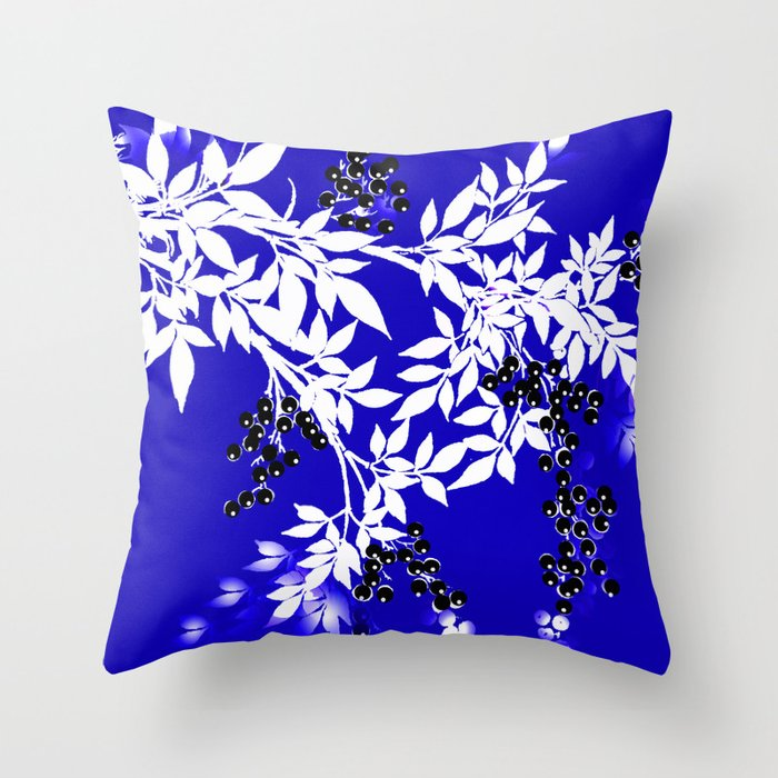 LEAF AND TREE BRANCHES BLUE AD WHITE BLACK BERRIES Throw Pillow