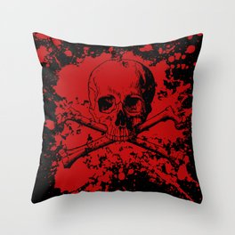Skull and Crossbones Splatter Pattern Throw Pillow