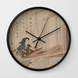 Japanese Art Print - Shigenobu - Woman Weaving at a Loom (1830) Wall Clock