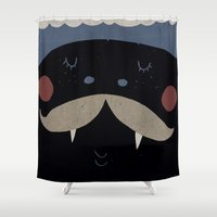 mustache Shower Curtains featuring mustache by Maria Dek