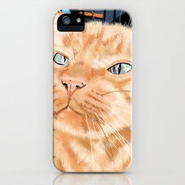 Sniffy Ginger Tabby Cat iPhone Case