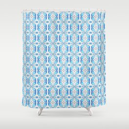 Exotic Blue Pattern Shower Curtain