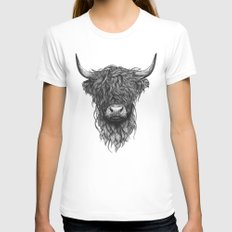 Highland Cattle White LARGE Womens Fitted Tee