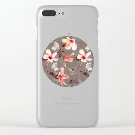 Coral Hibiscus Clear iPhone Case