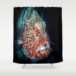 grouper diving underwater Shower Curtain