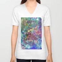 batik V-neck T-shirts featuring BATIK FISH by AlyZen Moonshadow