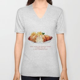""" chicken stuffed with mozarella wrapped in parma ham with  a side of homemade mash "" Unisex V-Neck"